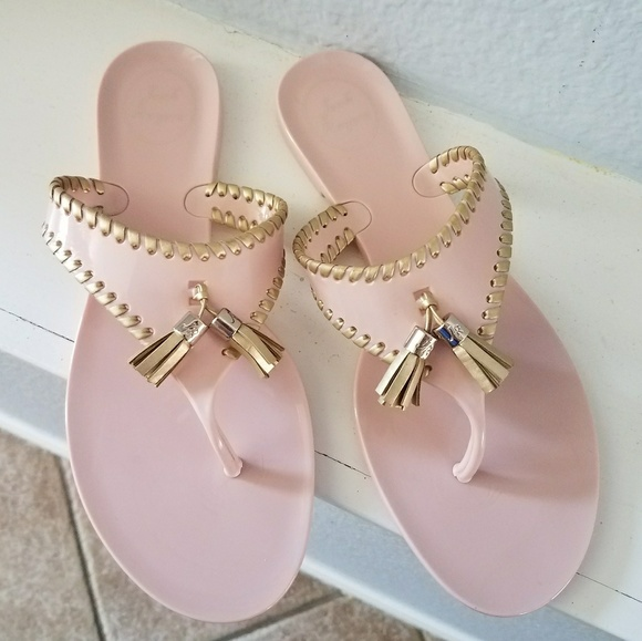 612d902fdd54 Jack Rogers Shoes - Jack Rogers Alana Jelly Blush Gold Tassel Sandal 8